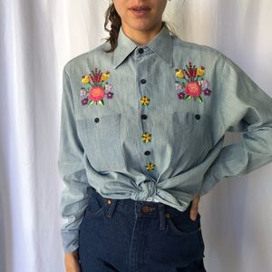 VINTAGE 70's chambray denim shirt with embroidery
